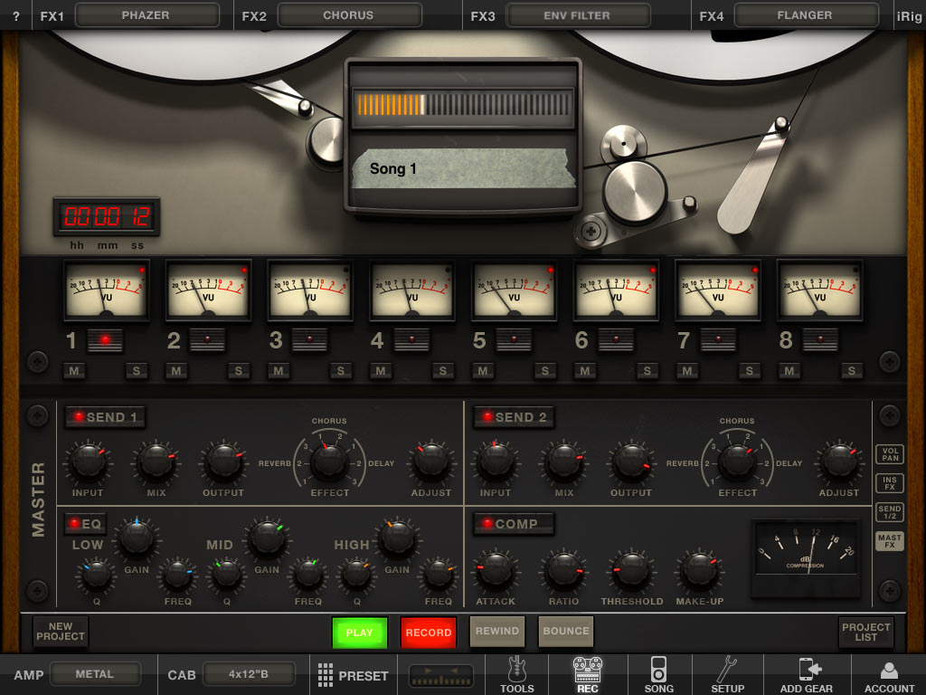 amplitube 2 for ipad gets 8 track recorder more stomp effects. Black Bedroom Furniture Sets. Home Design Ideas